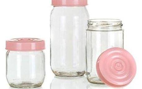 Sada skleněných dóz LINZI, 3 ks, růžová (TEV34085002)