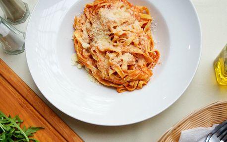 Domácí těstoviny dle výběru či hovězí carpaccio