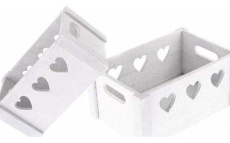 Sada dekoračních dřevěných bedýnek Hearts 2 ks, bílá