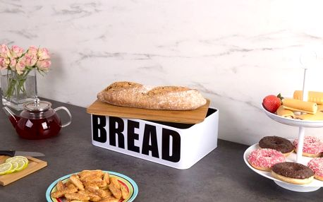 EH Excellent Houseware Kovový chlebník BREAD s bambusovým prkénkem na krájení, 2v1