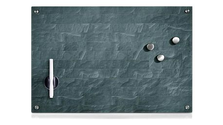 Skleněná magnetická tabule STONEWALL + 3 magnety,60x40 cm, ZELLER