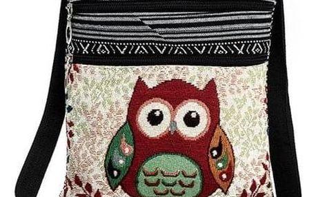 Dámská kabelka s motivy barevných soviček - dodání do 2 dnů