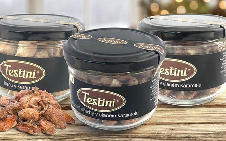 Mandle, kešu a lískové ořechy ve slaném karamelu