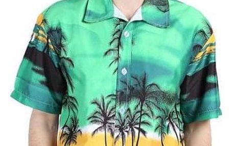 Pánská barevná košile v havaiském stylu - Modrá_velikost č. 6 - dodání do 2 dnů