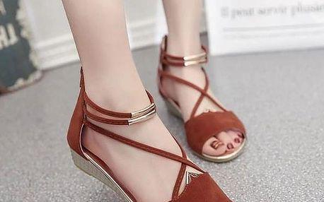 Dámské sandály s jemnými řemínky - Červená-6.5 - dodání do 2 dnů
