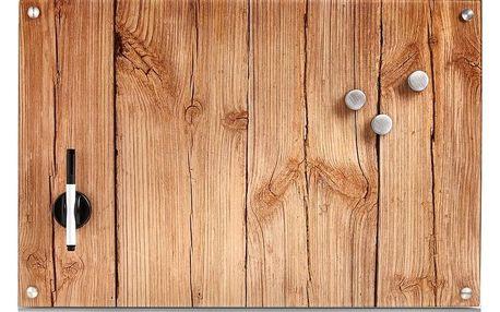 Skleněná magnetická tabule WOOD + 3 magnety,60x40 cm, ZELLER