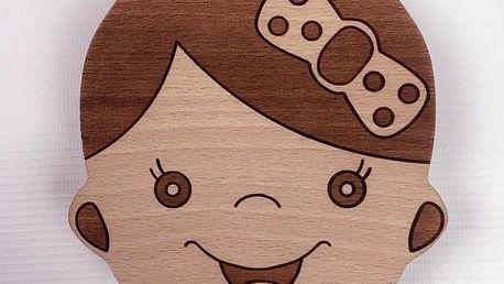 Dřevěná krabička na dětské zoubky s polskými nápisy - vyrobeno v EU - dodání do 2 dnů