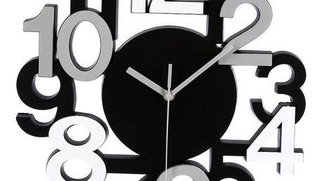 Atmosphera Hodiny nastěnu v moderním stylu, hodiny sčíslicemi, hodiny do obýváku, kuchyňské hodiny, černé hodiny, designové hodiny