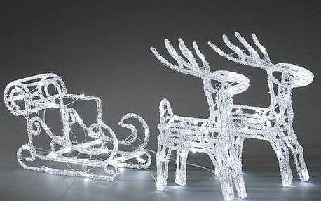 Vánoční venkovní dekorace Sáně s jeleny, 96 LED