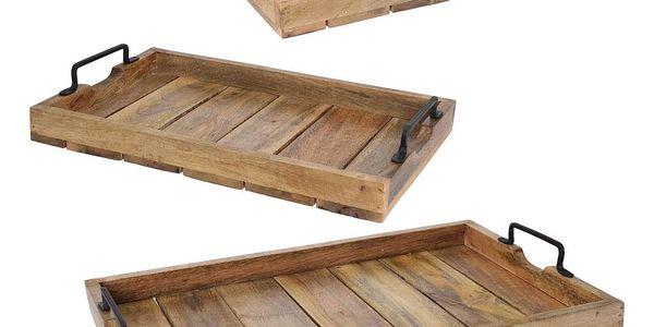 Home Styling Collection Dřevěný podnos - žebrovaný, 3 ks