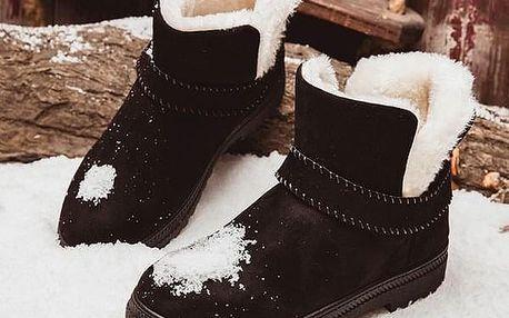 Dámské zimní boty s kožíškem - Černá-4.5 - dodání do 2 dnů