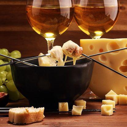 Sýrové fondue s lahví bílého vína pro 2 osoby