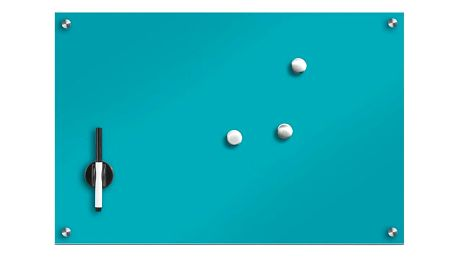 Skleněná magnetická tabule, barva tyrkysová + 3 magnety, 60x40 cm, ZELLER