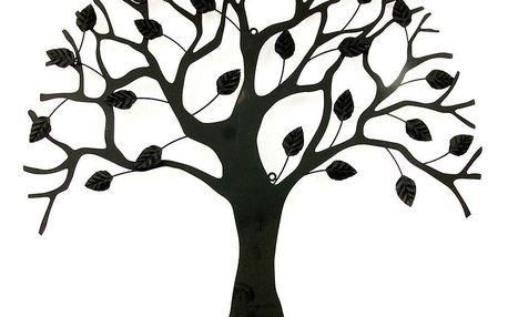 Nástěnná kovová dekorace - stromy, barva černá matná HO4464