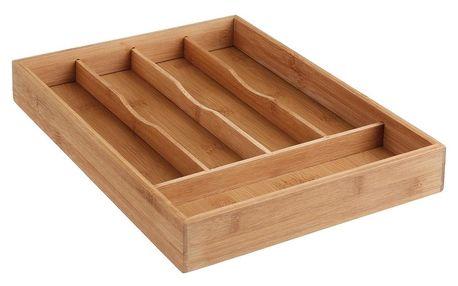 Emako Kuchyňský organizér, organizér do zásuvky, rozdělovač do zásuvky, příborník do zásuvky, kontejner na příbory, vložka na příbory, pořadač na příbory - 5 přihrádek, bambusové dřevo, 34 x 25 x 4,5 cm