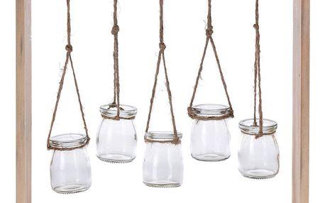 Emako Nástěnná dekorace s dřevěnným rámem, sklenice, 5 ks