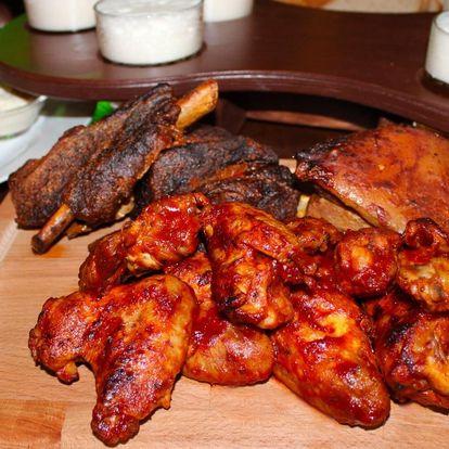 Obří prkno 3 druhů pečeného masa a degustace piva