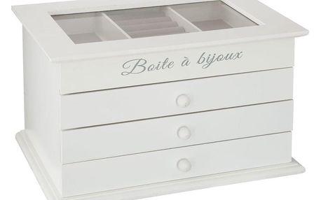 Atmosphera Bílá objemná stylizovaná šperkovnice s proskleným víkem, 17x30x25 cm