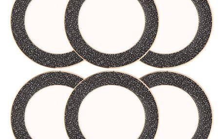 Altom 6dílná sada dezertních talířů Granit 20 cm, černá
