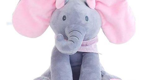 Zpívající plyšový slon - Růžová + šedá - dodání do 2 dnů