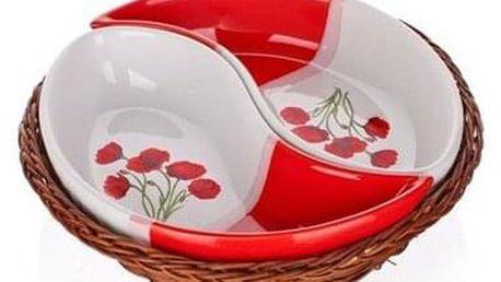 BANQUET Red Poppy servírovací misky v košíku 2 díly