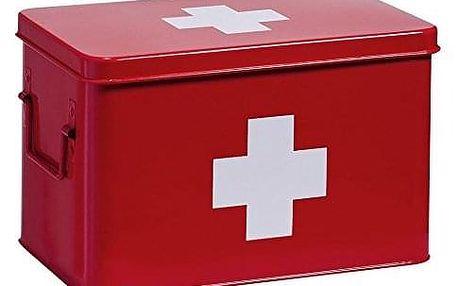 červená kovová lékárnička, 32 x 20 x 20 cm, ZELLER