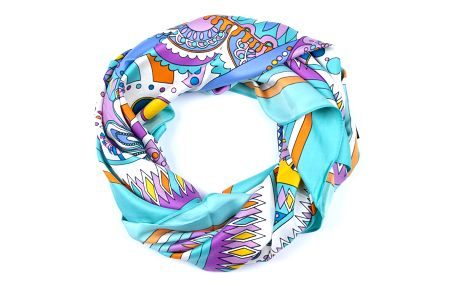 Delfin Hedvábný šátek Luxury Vintage - ornamenty modrý