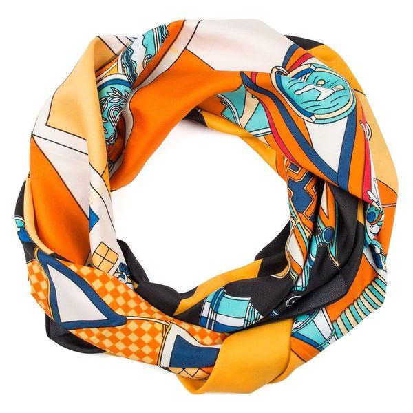 Delfin Hedvábný šátek Luxury Vintage - sochy a ornamenty oranžový