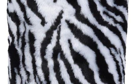 Taburet z umělé kožešiny Zebra, 31 x 34 cm