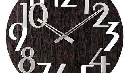 LCT1010 Nástěnné hodiny LAVVU STYLE Black Wood, pr. 40 cm