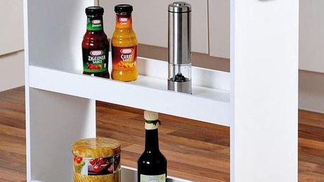 Police v kuchyni, mobilní v bílé barvě na kolečkách, 3 úrovně, KESPER