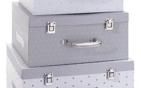 Atmosphera Créateur d'intérieur Kufr, kontejner pro uchovávání, box,organizér - barva šedá, růžová, 3 ks