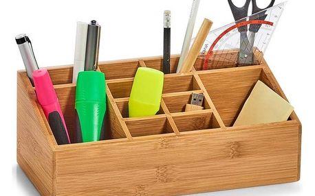 Organizér na kosmetiku, pro ukládání kancelářských potřeb - 16 přihrádek, bambusový, ZELLER