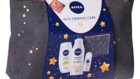 Nivea Q10 Energy+ Firming Body Lotion dárková kazeta pro ženy tělové mléko 400 ml + sprchový krém Care & Star Fruit 250 ml + antiperspirant roll-on Stress-Protect 50 ml + kosmetická taštička