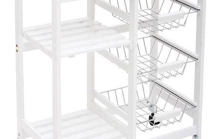 Emako Vozík na kolečkách, univerzální stolek, multifunkční vozík, stolek na kolečkách, kuchyňský vozík, 67 x 35 x 81 cm, barva bílá