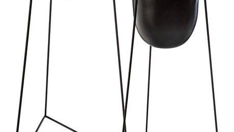 Atmosphera Sada dvou květináčů černé barvy na kovovém stojanu