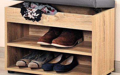 Kesper Dřevěná skříňka na boty se sedátkem, regál do předsíně s praktickou lavičkou na sezení