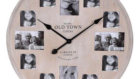 Emako Nástěnné hodiny s 12 rámečky na fotky, dřevěné, 60 cm