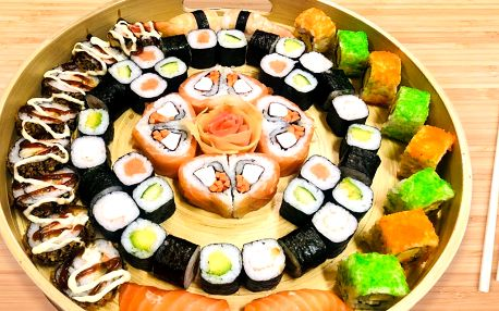 24–60 ks sushi: vege, s lososem i krevetami