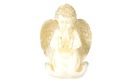 Vánoční svíčka Anděl Rafael, béžová