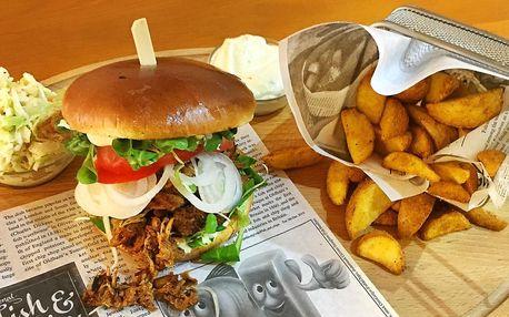 Burger s pečeným vepřovým a americkými bramborami