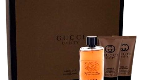 Gucci Guilty Absolute Pour Homme dárková kazeta pro muže parfémovaná voda 50 ml + balzám po holení 50 ml + sprchový gel 50 ml