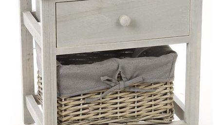 Atmosphera Créateur d'intérieur Dřevěná skříňka se zásuvkou, skříňka noční, regál na skladování, zásuvka, proutěný koš - skrýš, pomocník