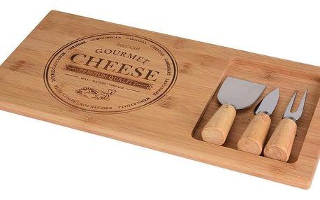 Bambusové prkénko na sýr s příslušenstvím 38 x 18 x 1,5 cm