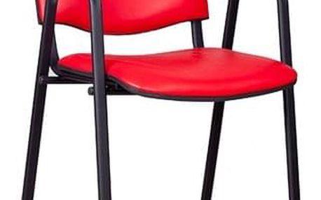 Konferenční židle ISO eko-kůže s područkami Červená D15 EKO