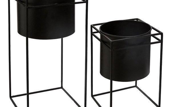 Emako Sada dvou kovových květináčů v černé barvě, 25x16x16, 40x18x18 cm