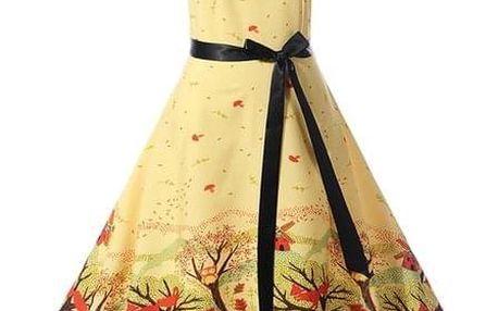 Retro šaty s krásnými motivy - c-velikost č. 3 - dodání do 2 dnů