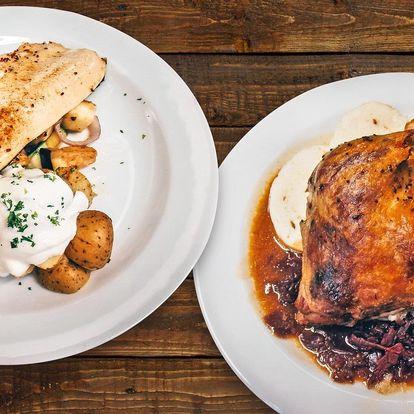 3chodové menu se pstruhem či kachnou pro 2 osoby
