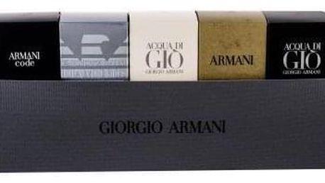 Giorgio Armani Mini Set 1 dárková kazeta pro muže edt Code Pour Homme 4 ml + edt Emporio Diamonds 4 ml + edt Acqua di Gio 5 ml + edt Eau Pour Homme (2013) 7 ml + edp Acqua di Gio Profumo 5 ml