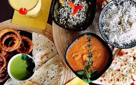 Indické menu s výběrem ze 4 hlavních chodů